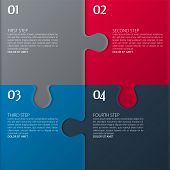 Vector illustration. Four color parts of puzzle. poster