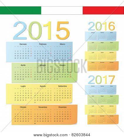 Set Of Italian 2015, 2016, 2017 Color Vector Calendars