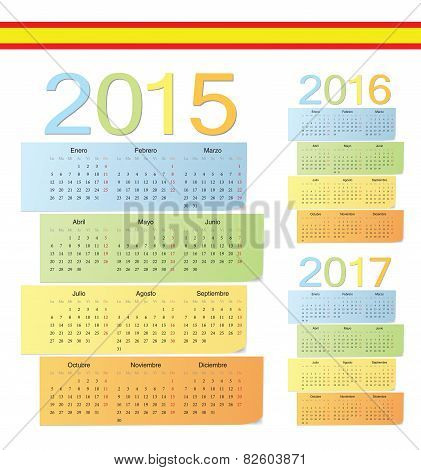 Set Of Spanish 2015, 2016, 2017 Color Vector Calendars