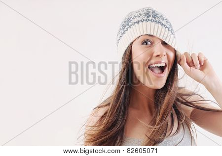 Happy Emotional Woman In Winter Knitted Hat