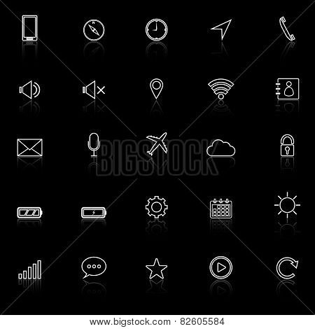 Mobile Phone Line Icons With Reflect On Black Background