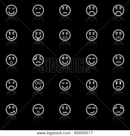 Circle Face Line Icons With Reflect On Black Background