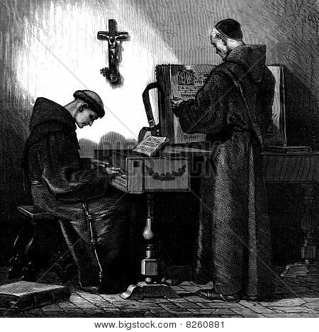 Franciscan Monk Playing Harpsichord