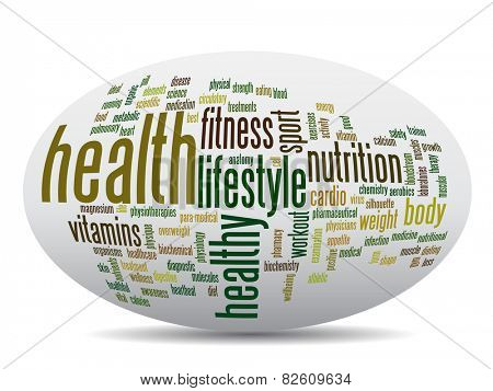 Concept or conceptual abstract word cloud on white background as metaphor for health, nutrition, diet, wellness, body, energy, medical, fitness, medical, gym, medicine, sport, heart or science poster