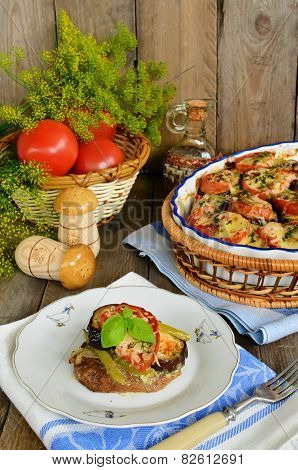 Juicy beef medallion fried with vegetables. Beef medallion with eggplant capsicum and tomatoes under the cheese poster
