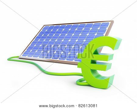 Solar Panel Euro Sign