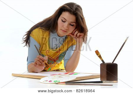Woman Artist Draws A Line On The Paper