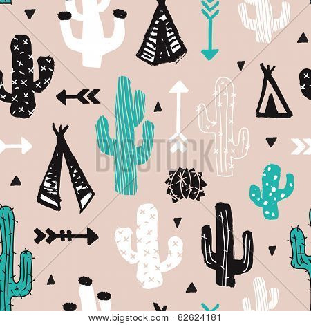 Seamless mint cacti illustration indian summer adventure teepee tent camping trip theme background pattern in vector