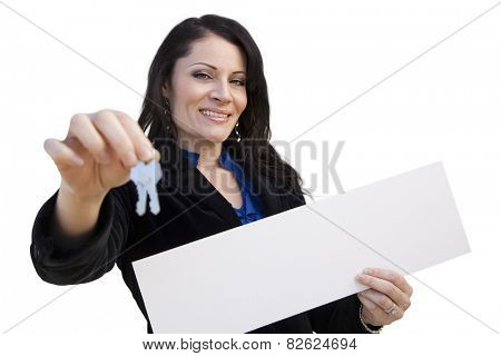 Smiling Hispanic Woman Holding Blank Sign and Keys Isolated On White.