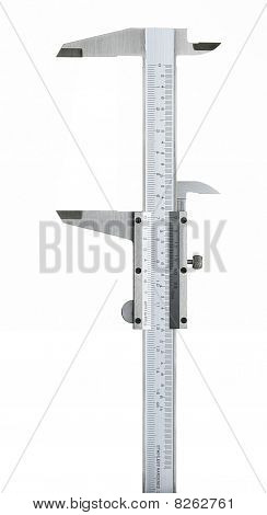 Duel Scale Vernier Measuring Calipers On A White Background