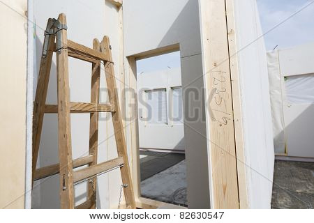 Placed Walls Of A Prefabricated House