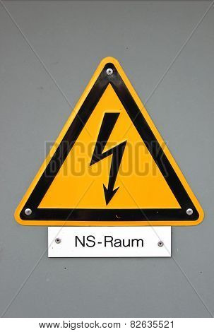 High voltage sign in Germany. The subtitle means Niederspannungs-Raum (low voltage area). poster