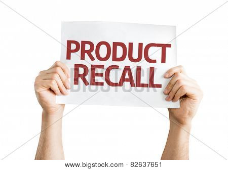 Product Recall card isolated on white background