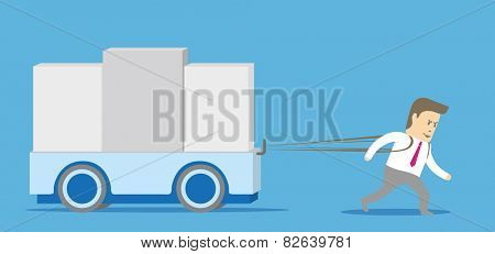 Businessman character drags a big load. Hard work concept.