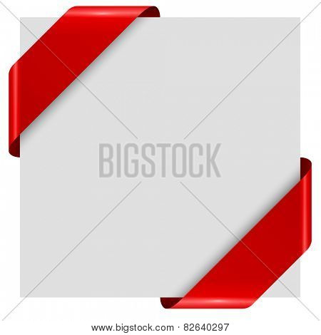 Red comer ribbon tags template isolated on white background.