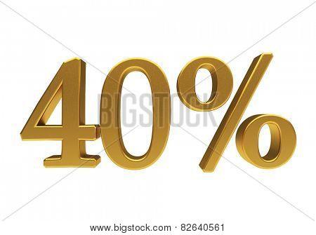 40 percent off. Discount 40. 3D illustration