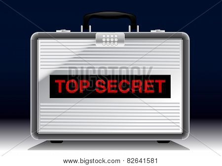 Top Secret Metal Suitcase Under A Spotlight