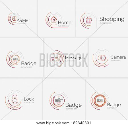 Thin line neat design logo colletion - 9 clean modern icons and stamps