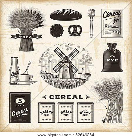 Vintage cereal set. Fully editable EPS10 vector.