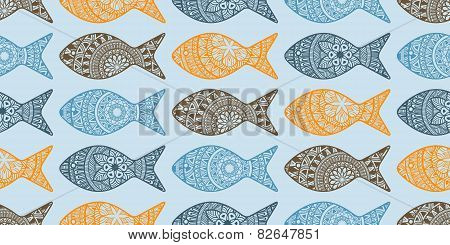 Vector Seamless Pattern With Doodle Fishes