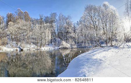 Winter Landscape Of River Istra