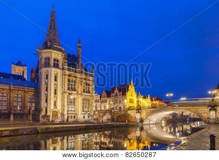 Quay Graslei in Ghent town at night, Belgium