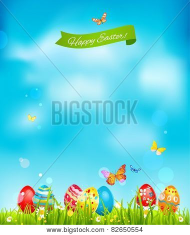 Happy Easter card. Blue sky and colored eggs. Place for text