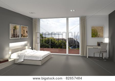 bedroom with a view to the sea