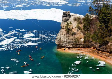 Kayaks & Ice Floes At Miners Castle - Pictured Rocks National Lakeshore