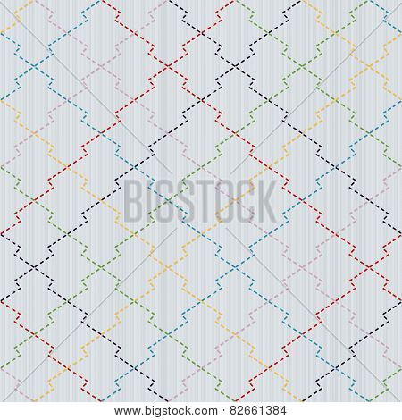 Colorful Sashiko motif - pine bark (Matsukawa-Bishi). Traditional Japanese Embroidery. Abstract needlework texture. Seamless vector pattern.  For decoration or printing on fabric. Pattern fills. poster