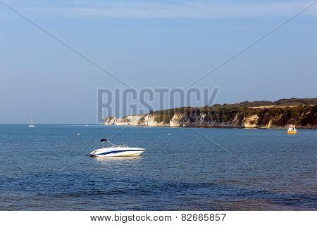 Dorset coast Studland south England UK view to chalk cliffs Old Harry Rocks