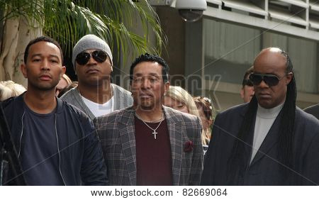 LOS ANGELES - JAN 28:  John Legend, LL Cool J, Smokey Robinson, Stevie Wonder at the Ken Ehrlich Hollywood WOF Star Ceremony at a Capital Records Building on January 28, 2015 in Los Angeles, CA
