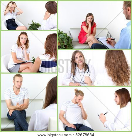 Collage of psychologist consulting