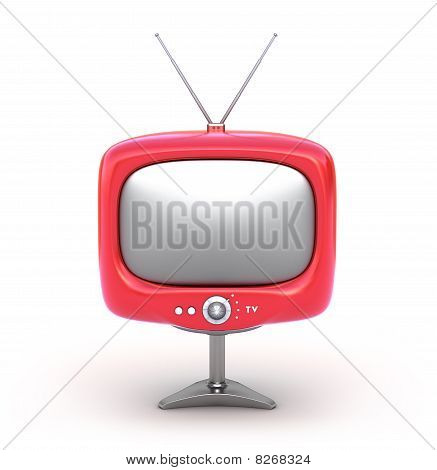 Red retro TV Set. Isolated on white background