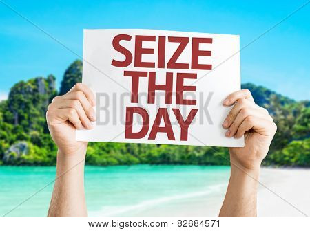 Seize the Day card with beach background