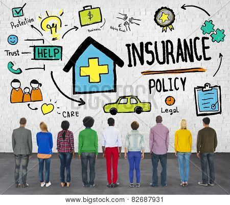 Diversity Casual People Insurance Policy Benefits Help Concept