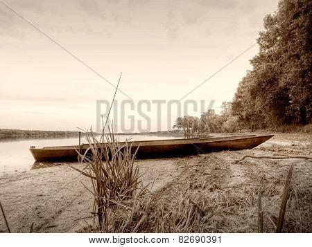 Sepia Retro Style, Boat In Pond