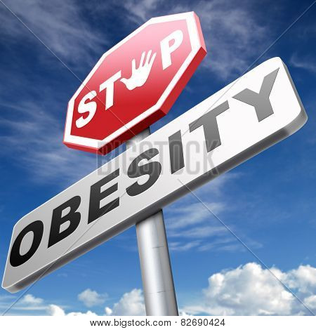 obesity prevention stop over weight start campaign with low fat diet for obese children and adults with eating disorder poster