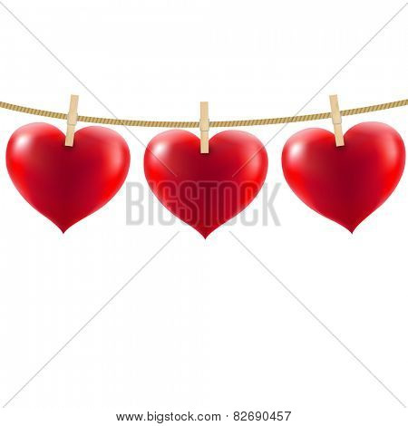 Heart With Clothespegs With Gradient Mesh, Vector Illustration
