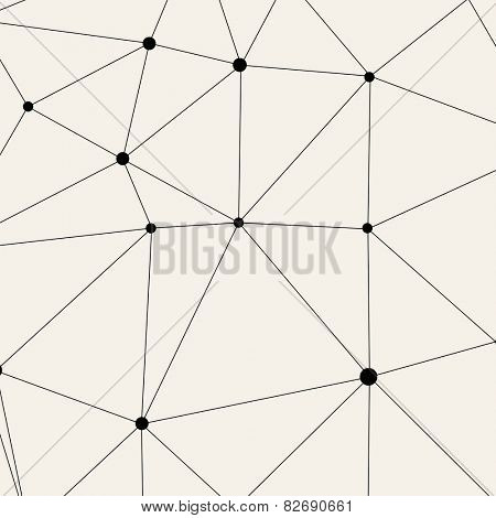Vector Modern Pattern. Black Techno Texture. Geometric Pattern Background. Rhombus, Triangles and Circles in Nodes. Abstract Ornament for Business Design.