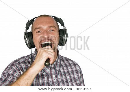 Man with headphone and microphone
