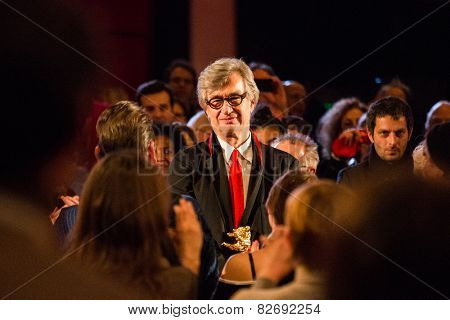 BERLIN, GERMANY - FEBRUARY 12: Wim Wenders receives the Honorary Golden Bear. Award ceremony.  65th Berlin International Film Festival, Berlinale Palace on February 12, 2015 in Berlin, Germany