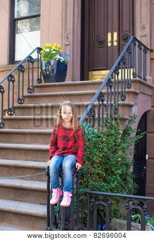 Little girl in historic district of West Village