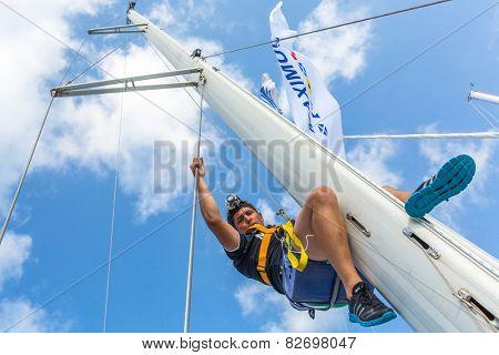 HYDRA, GREECE - CIRCA OCT, 2014: Unidentified sailors participate in sailing regatta 12th Ellada Autumn 2014 among Greek island group in the Aegean Sea, in Cyclades and Argo-Saronic Gulf.