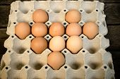 Eggs laid out on a tray (eggs, food, organic ) poster
