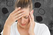 Woman with headache against speech bubbles poster