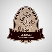 Health and Nature Supplements Collection.  Badge template with a herb on cardboard background.  Parsley - Petroselinum crispum poster