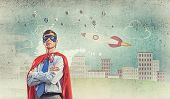Young confident super businessman in mask and cape poster