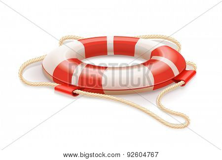 Life buoy for drowning rescue. Eps10 vector illustration. Isolated on white background