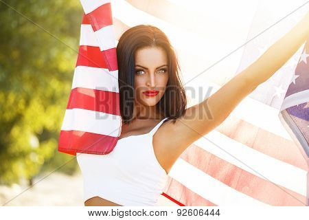 Sexy Woman With Star Spangled Banner Outdoor
